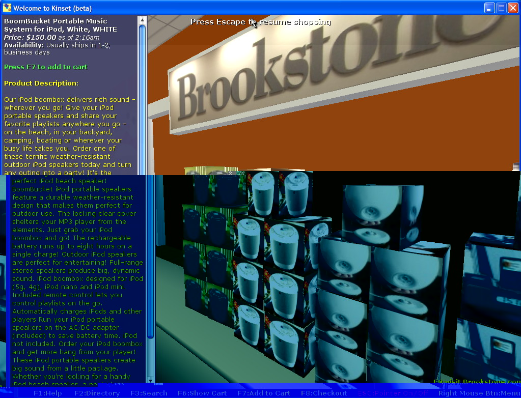 Virtual items in Kinset's 3-D Brookstone Store