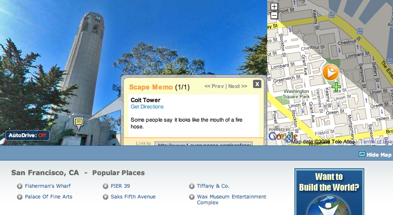 San Francisco's Coit Tower, with a Scape Memo attached