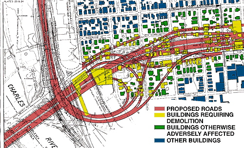 Map of Planned Inner Belt Interchange with Mass Pike