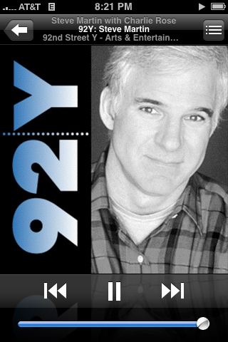 Charlie Rose interview with Steve Martin on iTunes U