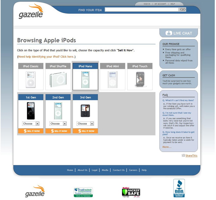 Gazelle's product-finder pages