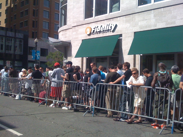 The line at the Apple Store snakes around the block -- July 11, 2008