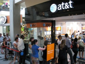 Lining up at the AT&T Store at the Cambridgeside Galleria
