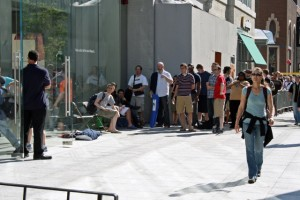 The front of the line at the Boylston Street Apple Store -- July 11, 2008