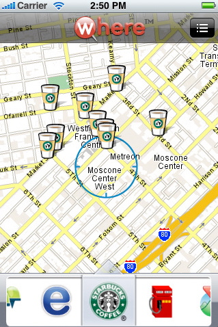 uLocate's Starbucks finder widget for the Where platform