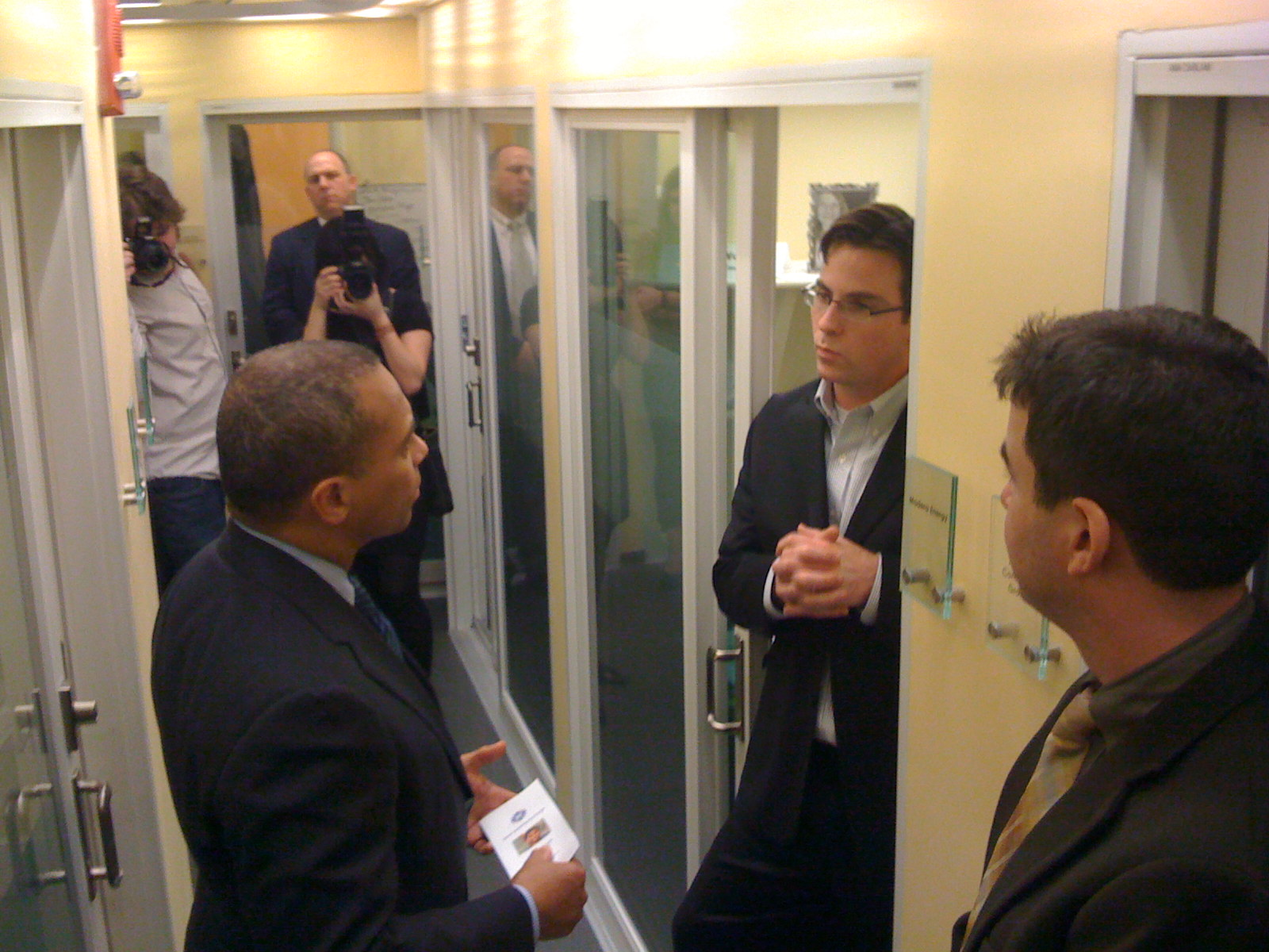 Governor Deval Patrick speaks with Matt Wolfe of Madera Energy