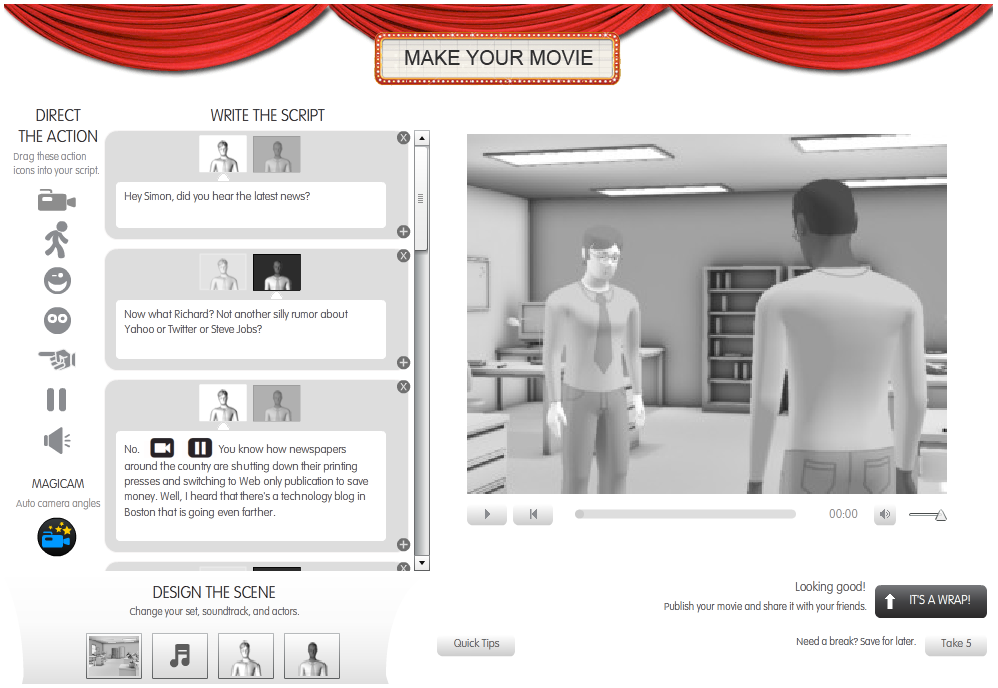 The Xtranormal moviemaking interface