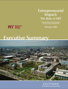 Entrepreneurial Impact Study: Cover Page