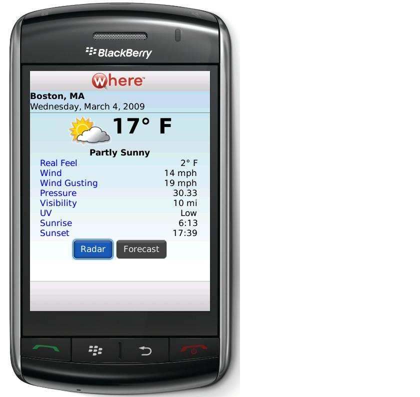 Where Weather on the Blackberry Storm
