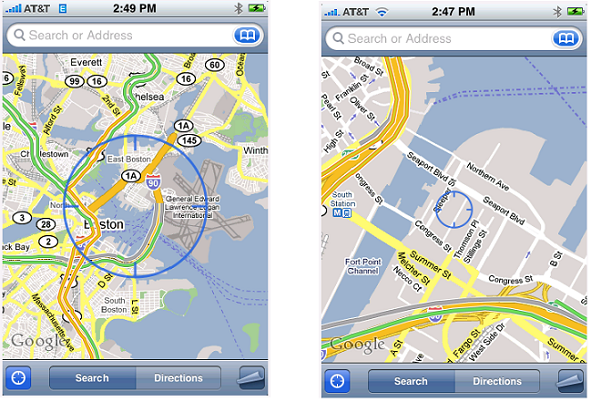Location finding on the iPhone with and without Skyhook's WPS technology