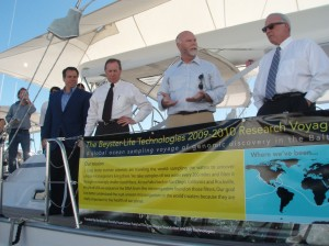 (From left) Life Technologies CEO Greg Lucier, San Diego Foundation CEO Bob Kelly, J. Craig Venter, San Diego Mayor Jerry Sanders