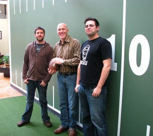 A few of Quick Hit's leading players. L to R: Geoff Scott (producer), Jeffrey Anderson (CEO), Brandon Justice (director of design)