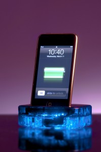 ThinkFlood's RedEye, with iPhone charging in cradle position