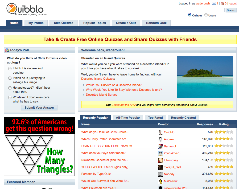 Quibblo Front Page