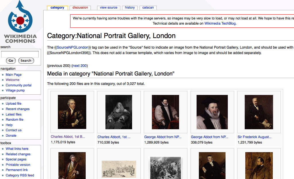 The Wikimedia Commons page collecting the UK National Portrait Gallery images