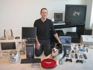 Ah, the good old days. In 2005, just for fun, I arranged this group picture, which includes every device I owned containing a microchip.