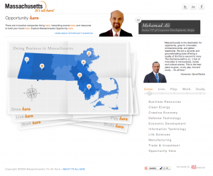 Massachusetts It's All Here website front page
