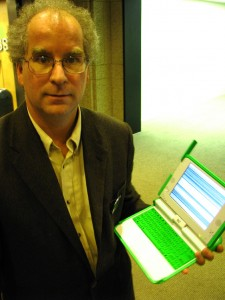 Brewster Kahle with an OLPC XO Laptop