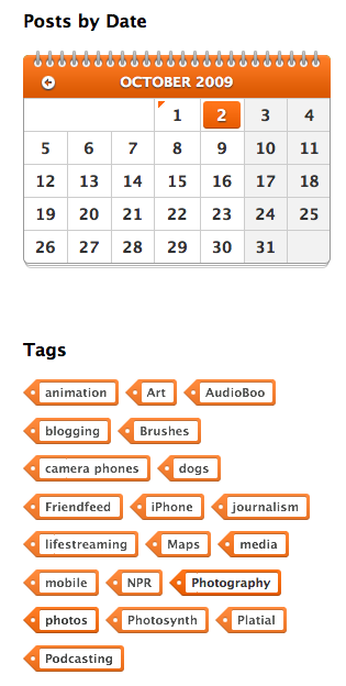 The WooThemes Antisocial calendar and tag widgets