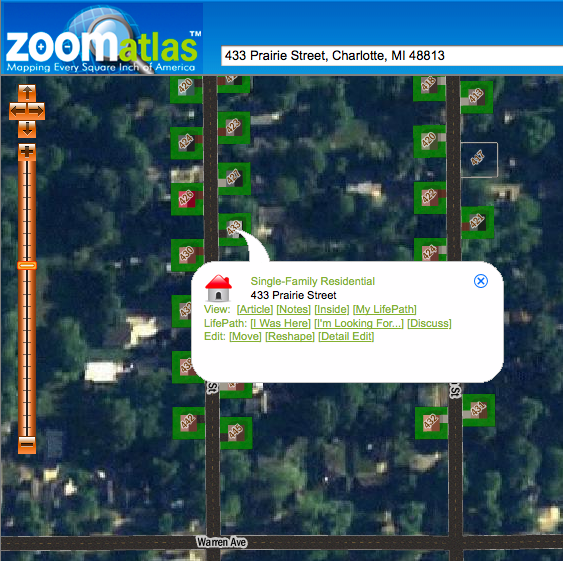 Searching for a residence on ZoomAtlas