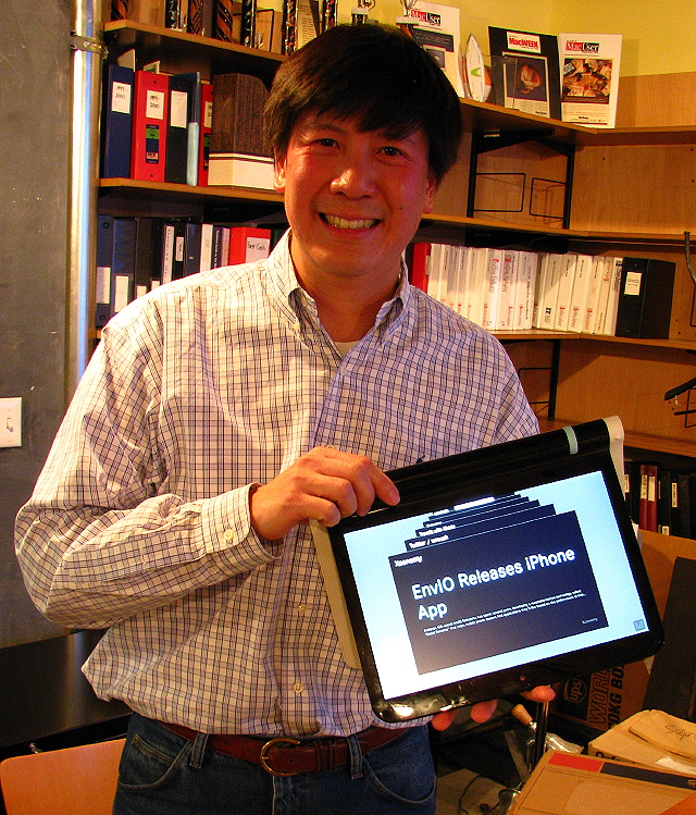 John Chuang and the Litl Webbook in easel mode