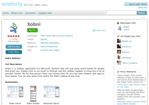 A sample Twitter app (Xobni) for sale on oneforty