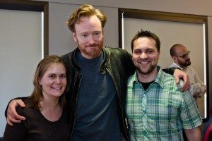Conan O'Brien with Joe Lauer (right) and Kristin Kanaar (left)