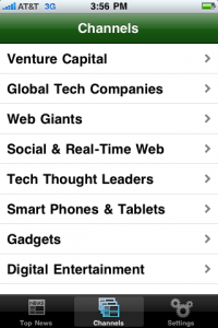Evri's mobile app (tech news vertical)
