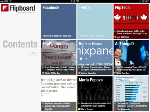 The Flipboard contents screen