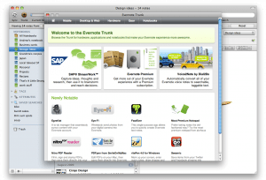The new Trunk pop-up screen in Evernote