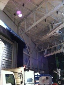 Ascending Technologies' Quadrocopter equipped with LaserMotive power beaming system hovers (photo: LaserMotive)