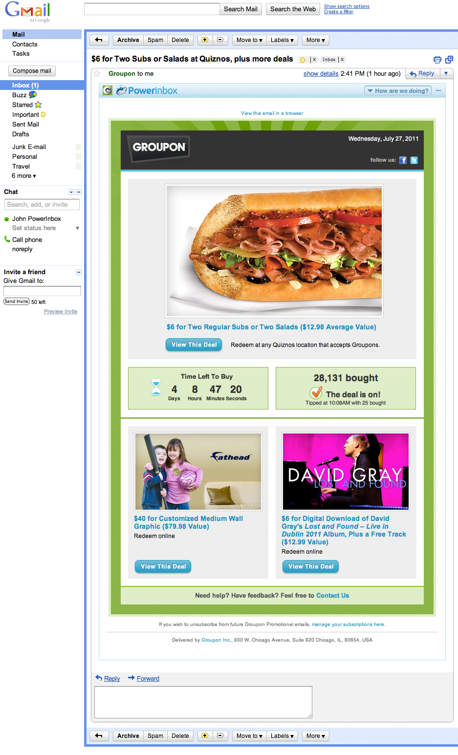 Daily-deal info in your inbox from Groupon (PowerInbox)
