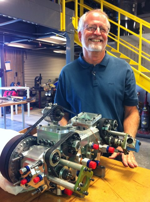 Monty Cleeves with the Pinnacle engine prototype