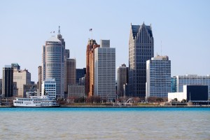 Detroit riverfront skyline