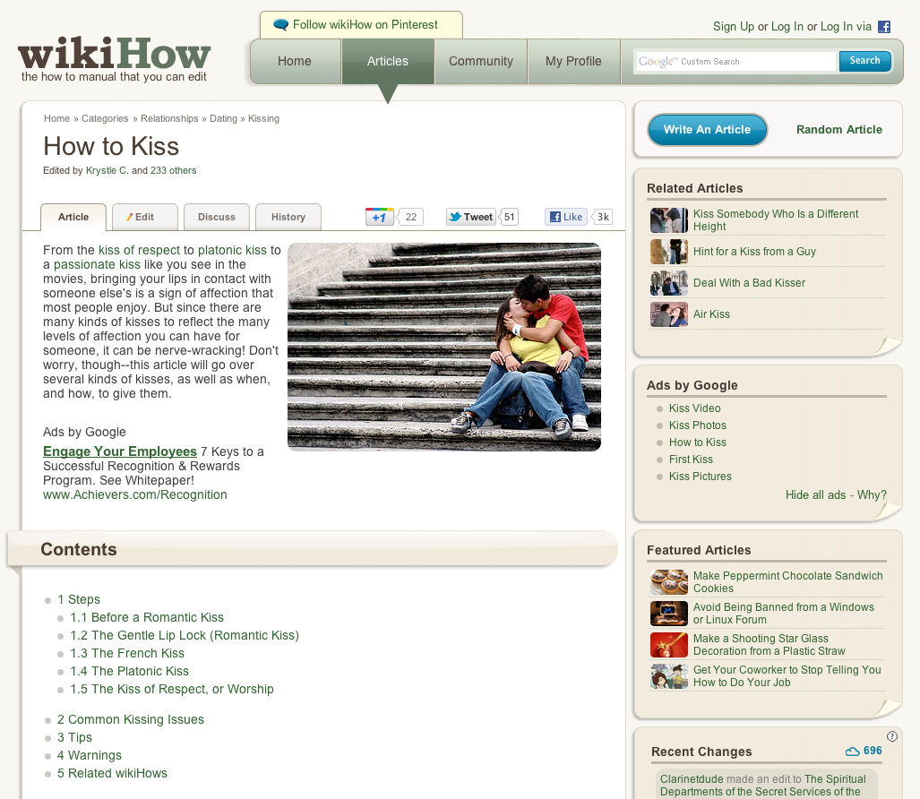 WikiHow - How to Kiss