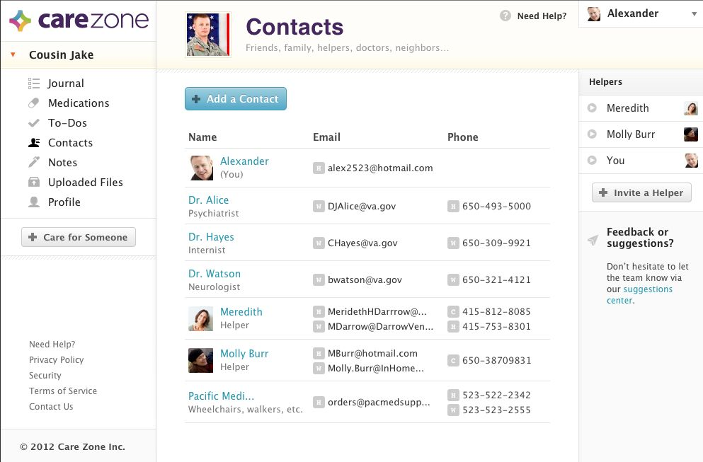 A contacts page on CareZone