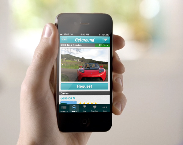 Getaround's iPhone app for reserving a car