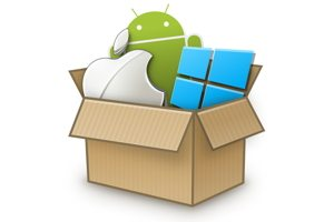 Cross-platform graphic showing Android, Apple, Windows logos