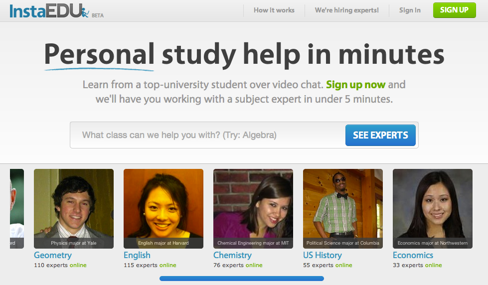 The InstaEdu home page
