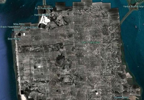 A Google Earth mosaic of aerial images of San Francisco captured by Harrison Ryker in 1938.