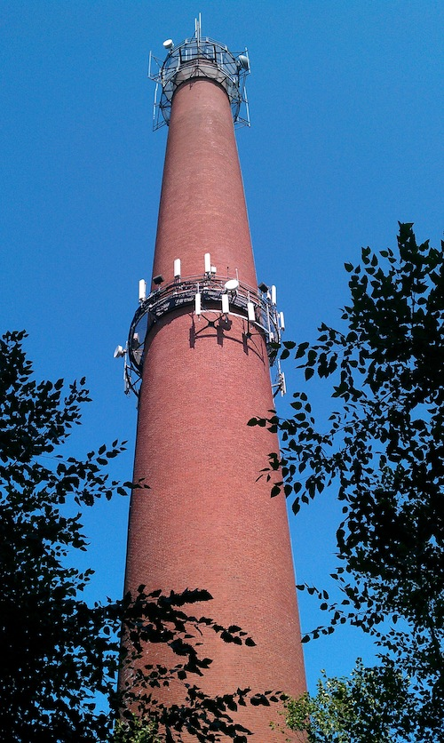 Smokestack at Rethink's South Boston headquarters (former electricity plant)