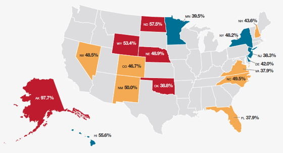 Map of the top 17 U.S. states in green job growth