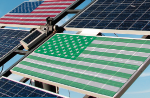 US Flag displayed on Solar Panels