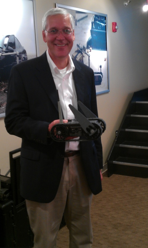 Tim Trainer, VP at iRobot, with a FirstLook military robot