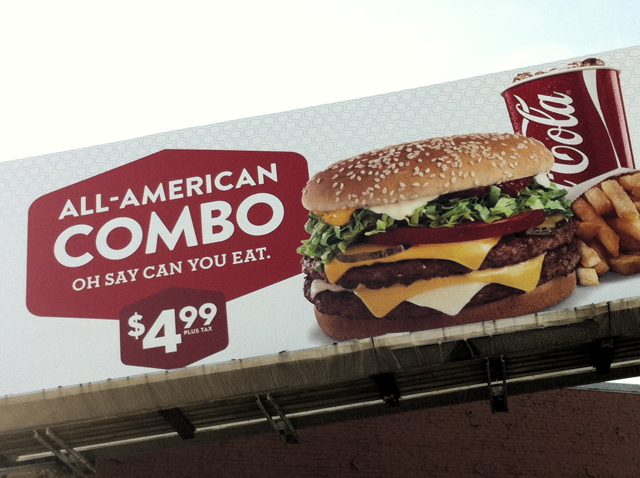 The All-American meal--a hamburger, fries, and a Coke