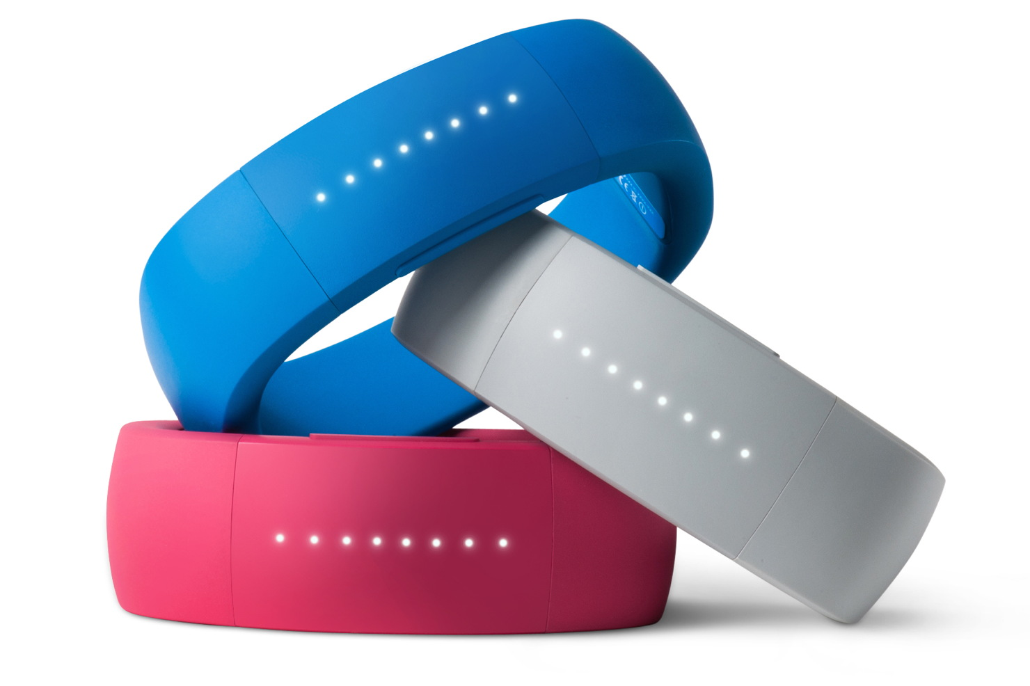 The Larklife wristband in blue, pink, and gray