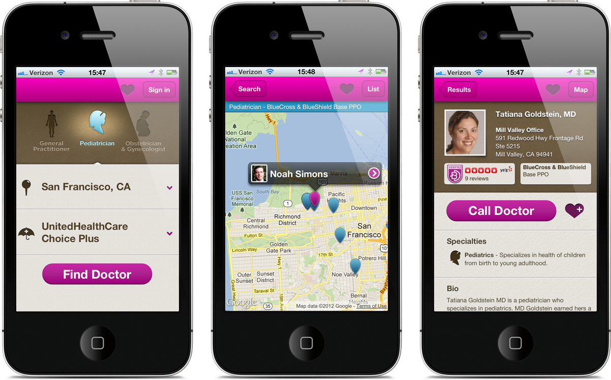 Better Doctor Mobile Web Screens