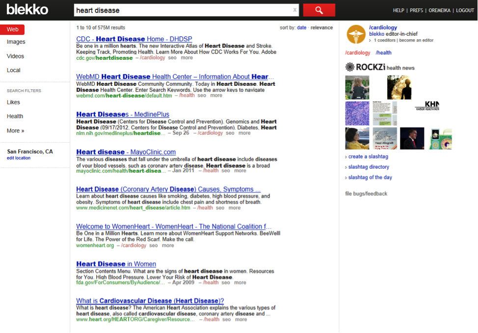 A Blekko search results page on heart disease