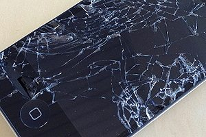 A cracked iPhone screen