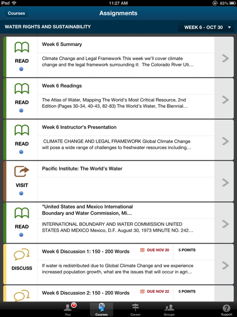 Screenshot from Empowered Careers' iPad app for students